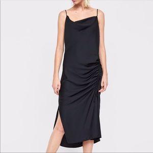 Zara Ruched Side Midi Slip Dress Black Side Tie L